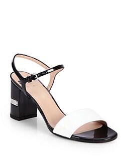 Stuart Weitzman - Nusolo Bicolor Patent Leather Sandals