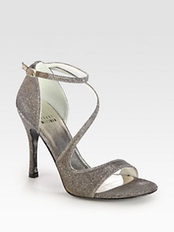 Stuart Weitzman - Vixen Glitter Mesh Strappy Sandals