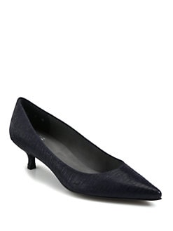 Stuart Weitzman - Poco Embossed Leather Pumps