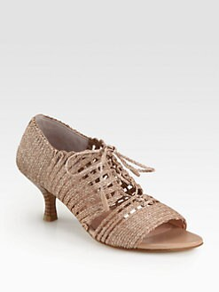 Stuart Weitzman - Stringit Woven Twine Lace-Up Sandals