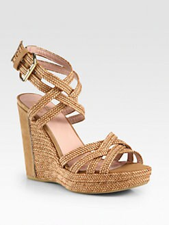 Stuart Weitzman - Reins Leather Wedge Sandals