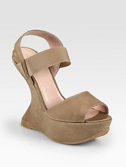 Stuart Weitzman - Bandana Suede Wedge Sandals