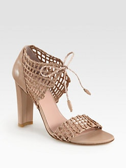 Stuart Weitzman - Stringapart Woven Twine & Leather Sandals