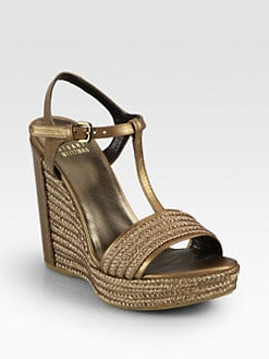 Stuart Weitzman - Matey Metallic Leather & Raffia Wedge Sandals
