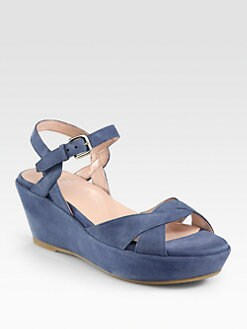 Stuart Weitzman - Lockness Suede Wedge Sandals