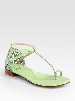 Stuart Weitzman - Thongfest Leather & Twine T-Strap Sandals
