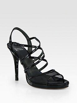 Stuart Weitzman - Yeah Patent Leather & Mesh Sandals