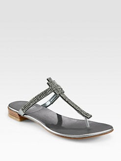 Stuart Weitzman - Vanity Crystal-Coated Metallic Leather T-Strap Sandals