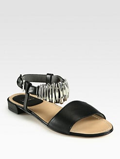 Stuart Weitzman - Bars Metal-Detail Leather Sandals
