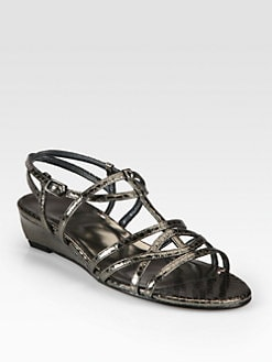 Stuart Weitzman - Course Metallic Snake-Print Leather Wedge Sandals