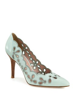 Stuart Weitzman - Eyelet Cutout Leather Pumps