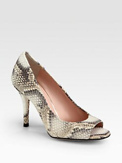Stuart Weitzman - Stylish Snake-Print Leather Pumps