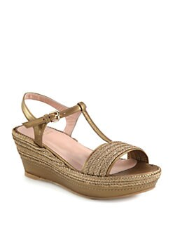 Stuart Weitzman - Flatty Metallic Leather & Raffia Wedge Sandals