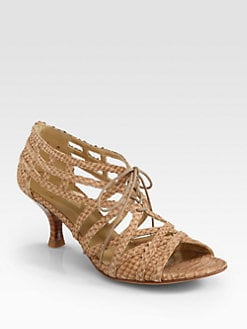 Stuart Weitzman - Boatieoneon Snake-Print Leather Lace-Up Sandals