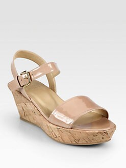 Stuart Weitzman - Patent Leather Cork Wedge Sandals