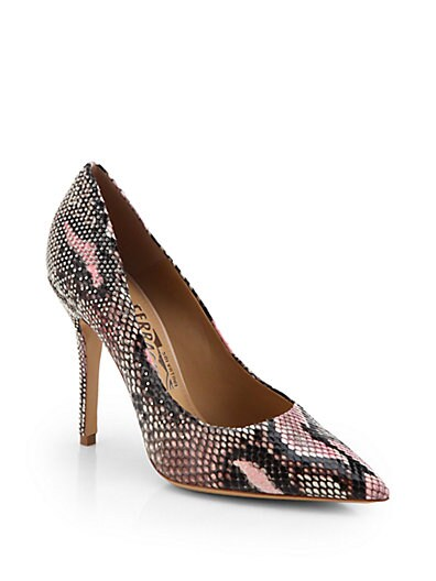 Studded Python-Print Leather Pumps
