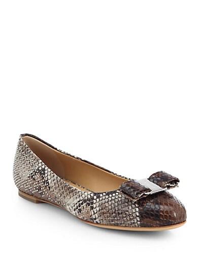 Varina Snake-Print Leather Ballet Flats