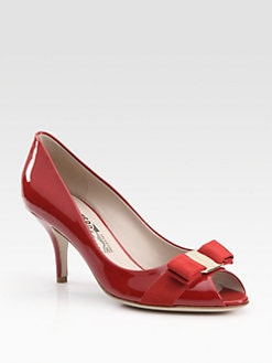 Salvatore Ferragamo - Ribes Patent Leather Peep Toe Bow Pumps