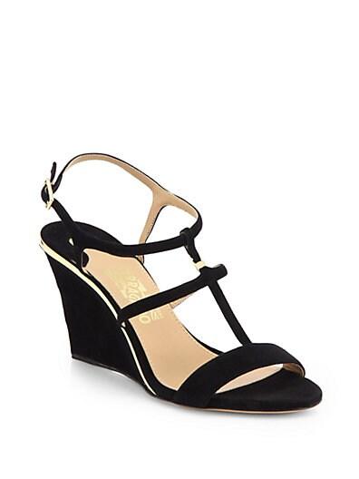 Pakuna Suede T-Strap Wedge Sandals