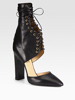 Salvatore Ferragamo - Shantelle Lace-Up Leather Pumps