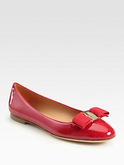 Salvatore Ferragamo - Scott Patent Leather Bow Ballet Flats