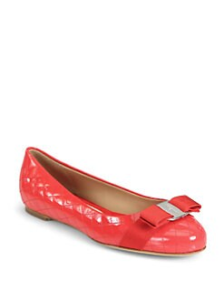 Salvatore Ferragamo - Isea Quilted Patent Leather Bow Ballet Flats