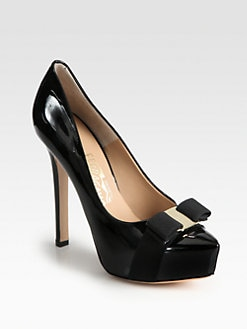 Salvatore Ferragamo - Trilly Patent Leather Bow Platform Pumps