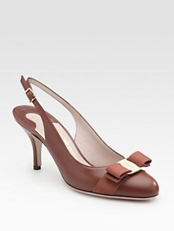Salvatore Ferragamo - Flavia Leather Bow Slingback Pumps