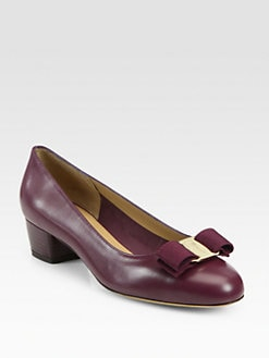 Salvatore Ferragamo - Vara Mid-Heel Leather Pumps