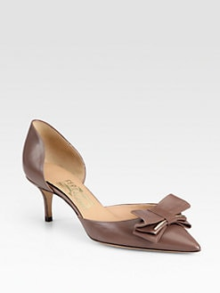 Salvatore Ferragamo - Leather Bow  d'Orsay Pumps