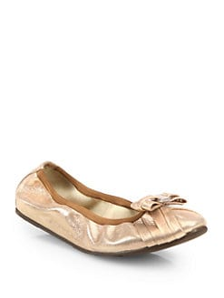 Salvatore Ferragamo - My Joyful Pleated Metallic Leather Ballet Flats