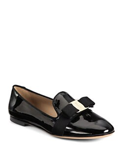 Salvatore Ferragamo - Scotty Patent Leather Smoking Slippers