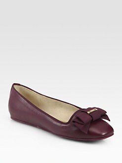 Salvatore Ferragamo - My Muse Leather Bow Ballet Flats