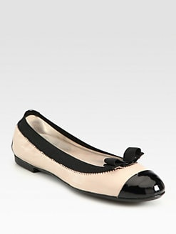 Salvatore Ferragamo - Leather and Patent Leather Bow Ballet Flats