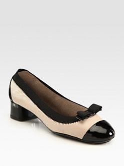 Salvatore Ferragamo - Two-Tone Leather, Elastic and Patent Leather Bow Pumps