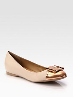 Salvatore Ferragamo - Sun Metallic Leather Ballet Flats