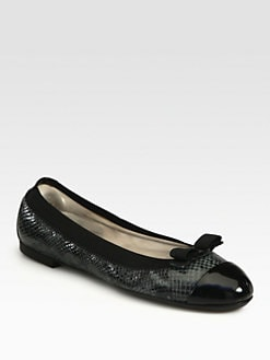 Salvatore Ferragamo - My Paris Snake-Print Leather Bow Ballet Flats
