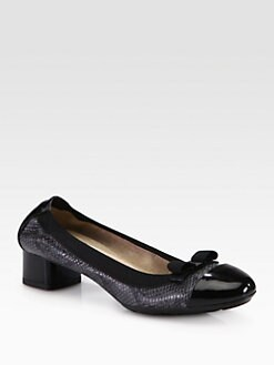 Salvatore Ferragamo - My Paris Snake-Print Leather Bow Pumps