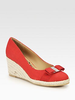 Salvatore Ferragamo - Darly Canvas Espadrille Wedge Pumps