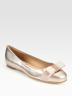 Salvatore Ferragamo - Varina Metallic Leather Bow Ballet Flats