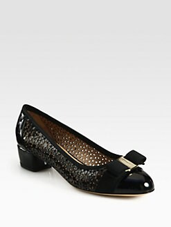 Salvatore Ferragamo - Susette Perforated Patent Leather Bow Pumps