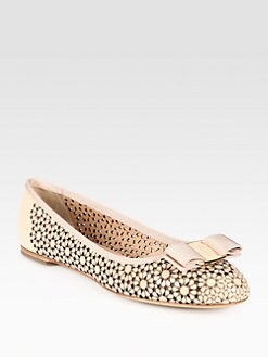 Salvatore Ferragamo - Shelly Perforated Patent Leather Bow Ballet Flats