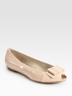 Salvatore Ferragamo - My Attitude Patent Leather Bow Ballet Flats
