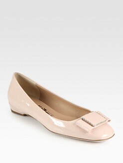 Salvatore Ferragamo - Selia Patent Leather Bow Ballet Flats