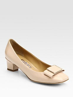 Salvatore Ferragamo - Louvre Selia Patent Leather Studded Bow Pumps