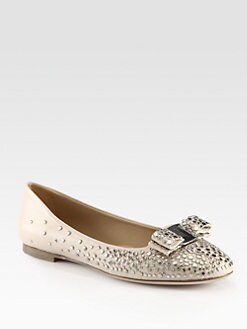 Salvatore Ferragamo - Louvre Sayer Studded Leather Ballet Flats
