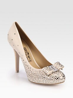 Salvatore Ferragamo - Sea Studded Leather Bow Pumps