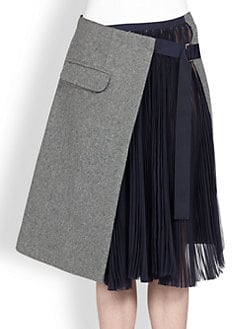 Sacai - Asymmetrical Pleated Combo Skirt