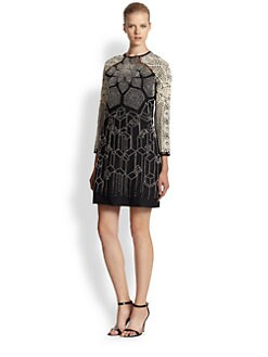 Rahul Mishra - Embroidered Wool Monochrome Dress