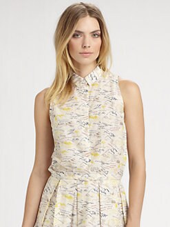 Boy. by Band of Outsiders - Sleeveles Travel Print Blouse